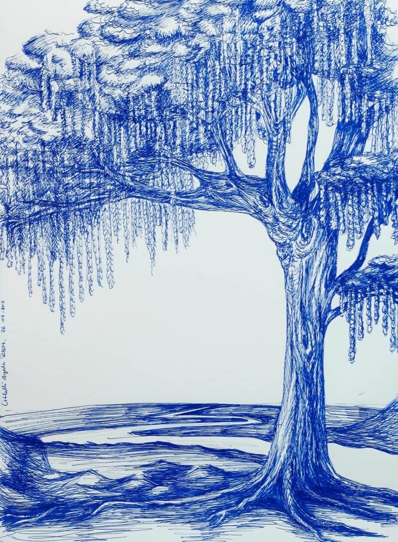 Blue ink Tree